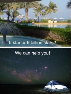 Top picture is the pool of a 5* hotel with palm trees and sun loungers and the bottom picture is a tent in the desert at night with thousands of stars visible