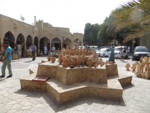 Traditional pots outside the souk in Nizwa