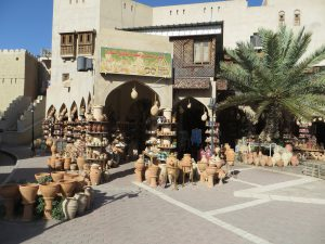 Traditional pottery outside a shop in Nizwa souk
