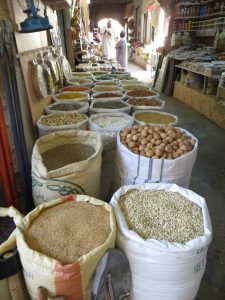 Bags of colourful spices in Nizwa souk