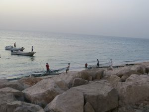 A group of men bring in their fishing nets on the beach in Musandam while others watch from small boats