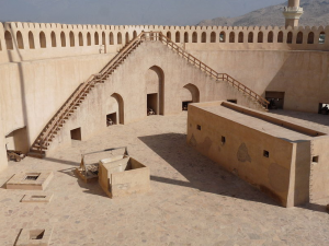 Steps lead up to the gunnery platform of Nizwa fort
