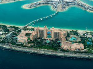 The Atlantis Hotel at the top of the Palm Jumeirah which is a man-made archipelago in Dubai