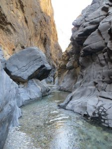 A deep, clear pool of water flows between the towering cliff walls of Snake Canyonflow